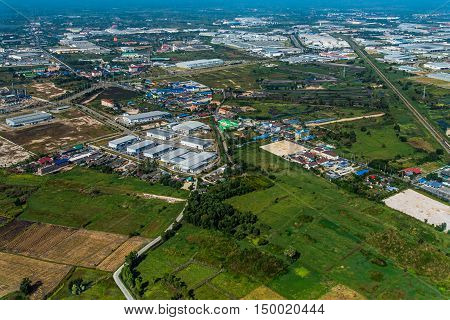 Industrial estate development in farm land Aerial photo
