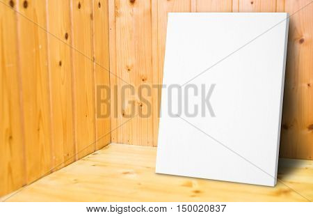 Blank White Poster Leaning At Wooden Wall In Plank Wood Room,mock Up For Adding Your Content