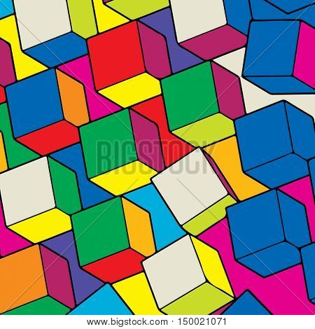 abstract background, colorful geometric cubes