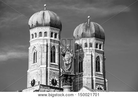 Mary's Column with the Church of Our Lady at Marienplatz in Munich, Germany. Black and white