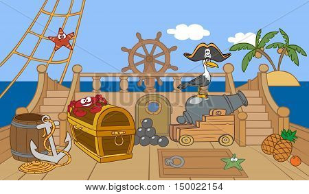 cartoon animated pirate ship deck and other objects