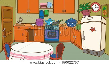 cartoon animated orange kitchen interior with fridge