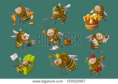 Colorful vector illustration of cartoon bee hive workers engeneer caretaker cleaner builder queen and soldier