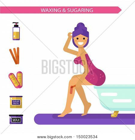 Vector flat design illustration of epilation or depilation procedure. Beautiful smiling girl in towels depilating legs with hot wax or sugar. Bottle sugaring, wax strips icons.