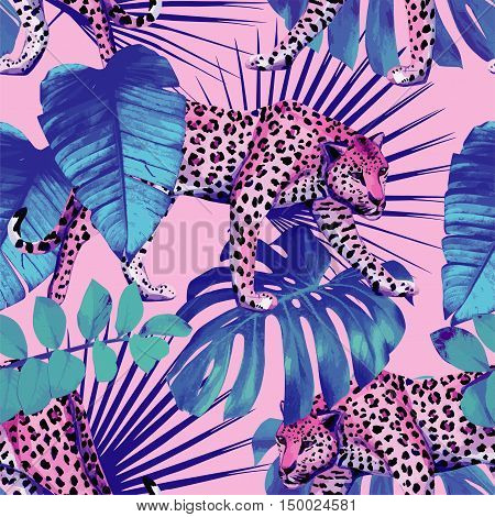 Seamless vector painting wallpaper plants hawaii tropic summer palm leaves with leopard pattern in trendy blue style on pink background