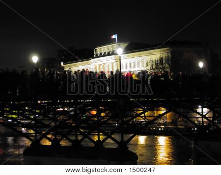 New Year'S Party On The Pont Des Arts, Paris