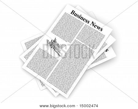 Looking for the latest business news. 3d rendered Illustration. Isolated on white. poster