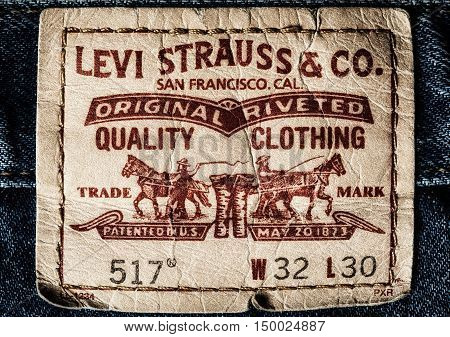 Estonia, Tallinn, Septemberr 28, 2016. Estonia. Tallinn Close up of the LEVI'S leather label on the blue jeans. LEVI'S is a brand name of Levi Strauss and Co, founded in 1853