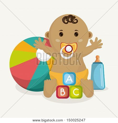 Baby boy cartoon. Baby shower and childhood theme. Isolated and colorful design. Vector illustration