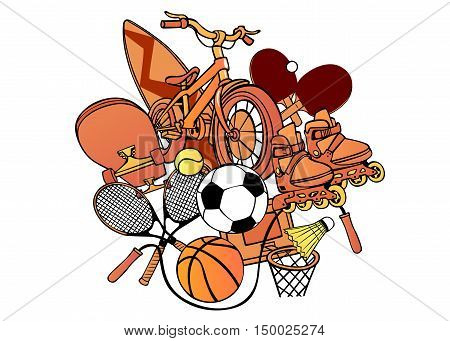 Cartoon pattern with painted sports equipment on a white background