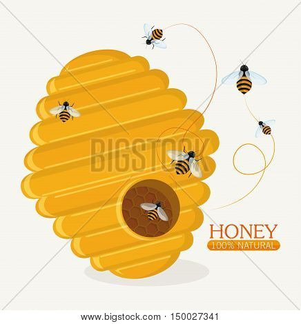 Honeycomb and bees icon. Honey healthy and organic food theme. Colorful design. Vector illustration