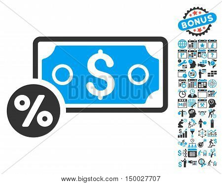 Banknote Percent pictograph with bonus calendar and time management design elements. Vector illustration style is flat iconic bicolor symbols, blue and gray colors, white background.
