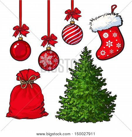 Set of Christmas tree, red decoration balls, boot and sack, cartoon vector illustration isolated on white background. Fluffy Christmas tree, traditional red boot, sack of presents and hanging balls