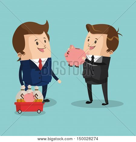 Businessman cartoon and piggy icon. Business strategy solution and work theme. Colorful design. Vector illustration