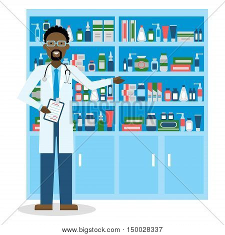 Pharmacist in drug store. Pharmacist in drug store. Handsome smiling african american man in white standing near shelf with medication. Man in glasses.