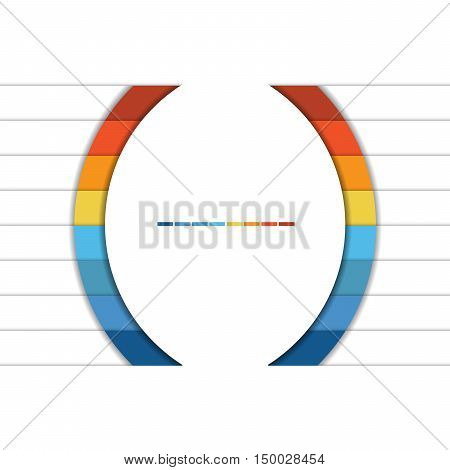 Template Infographic Colorful Semicircles and White Strips for 8 Text Areas.