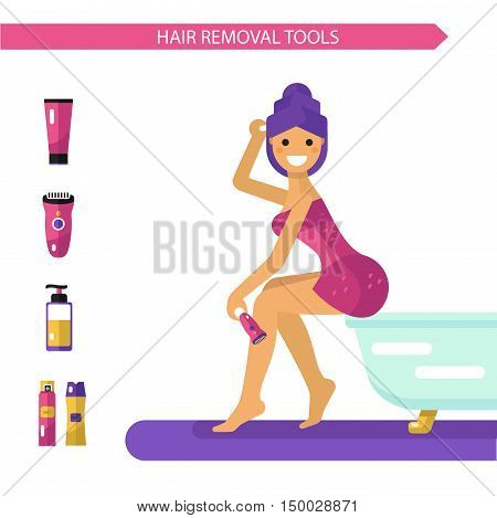 Vector flat design illustration of epilation or depilation procedure. Beautiful smiling girl in towels depilating legs with electric epilator. Shaving foam and gel bottles, cream icons.