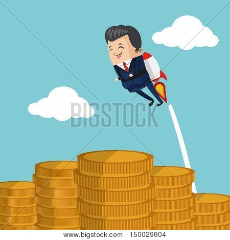 Businessman cartoon and coins icon. Business strategy solution and work theme. Colorful design. Vector illustration