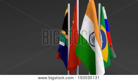 Illustration 3D Render, Flags Of The Five Countries Of The Brics