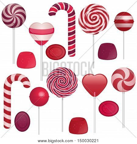 Vector illustration of different sweets on white background. Candy cane swirl lollipop heart lollipop round lollipop jellies.