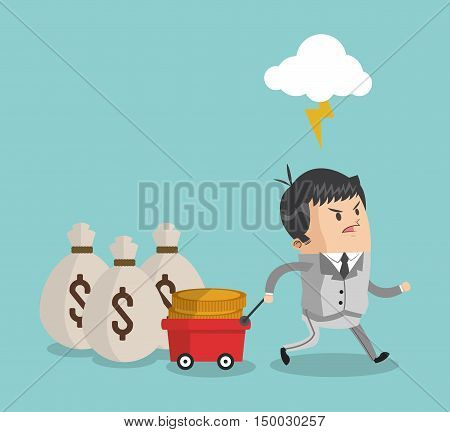 Businessman cartoon money bags and cart icon. Business strategy solution and work theme. Colorful design. Vector illustration