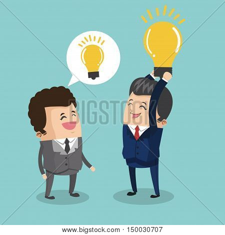 Businessman cartoon and light bulb icon. Business strategy solution and work theme. Colorful design. Vector illustration