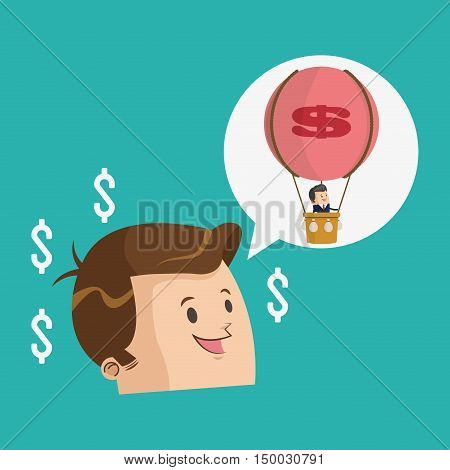 Businessman cartoon and hot air balloon icon. Business strategy solution and work theme. Colorful design. Vector illustration