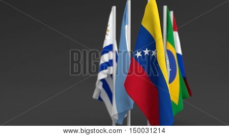 Illustration 3D Render, Flags Of The Five Countries Of The Mercosul Economic Bloc