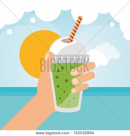Smoothie drink sea and sun icon. Summer fresh and organic theme. Colorful design. Vector illustration