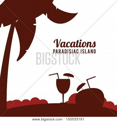 Coconut drink and palm tree icon. Vacations beach and summer and theme. Colorful design. Vector illustration