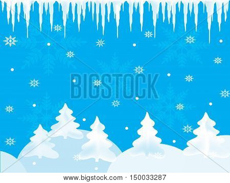 Winter blue background with snowflakes for presentation and icicles