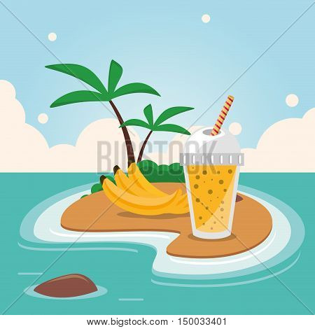 Smoothie drink banana and island with palm tree icon. Summer fresh and organic theme. Colorful design. Vector illustration