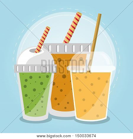 Smoothie drink icon. Summer fresh and organic theme. Colorful design. Vector illustration
