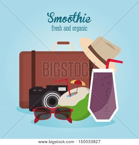Smoothie drink luggage camera glasses coconut and hat icon. Summer fresh and organic theme. Colorful design. Vector illustration