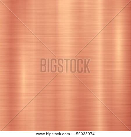 Bronze metal technology background with polished, brushed metal texture, chrome, silver, steel, aluminum, copper for design concepts, web, prints, posters, interfaces. Vector illustration.