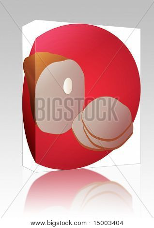 Software package box Leg of ham, sliced pork lunch meat,  illustration