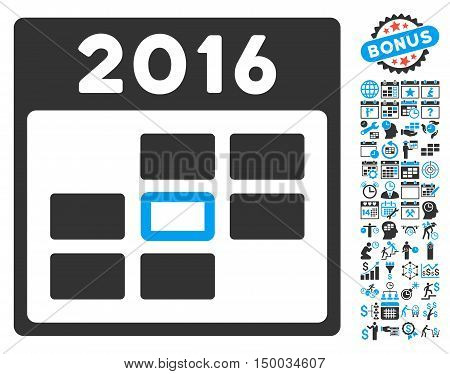 2016 Calendar Day pictograph with bonus calendar and time management clip art. Vector illustration style is flat iconic bicolor symbols, blue and gray colors, white background.