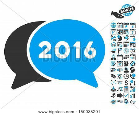 2016 Chat icon with bonus calendar and time management pictogram. Vector illustration style is flat iconic bicolor symbols, blue and gray colors, white background.