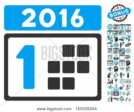 2016 Day icon with bonus calendar and time management icon set. Vector illustration style is flat iconic bicolor symbols, blue and gray colors, white background.