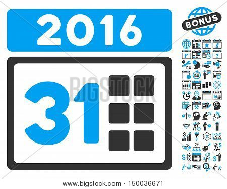 2016 Month pictograph with bonus calendar and time management pictograph collection. Vector illustration style is flat iconic bicolor symbols, blue and gray colors, white background.