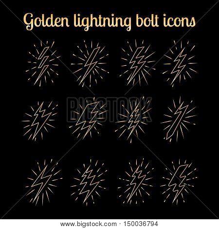 Golden lightning bolt thin line icons set on the black background. Vector illustration