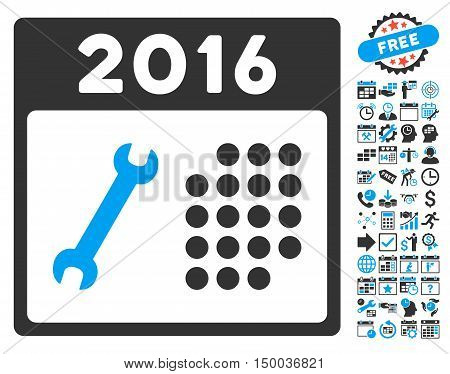 2016 Service Calendar pictograph with bonus calendar and time management pictograph collection. Vector illustration style is flat iconic bicolor symbols, blue and gray colors, white background.