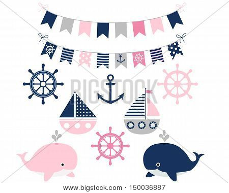 Nautical girl set in pink, grey and blue with boats and whales