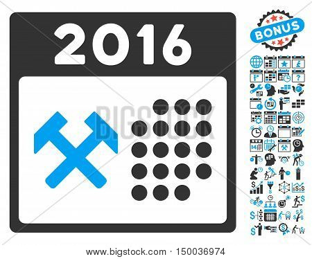 2016 Working Days icon with bonus calendar and time management clip art. Vector illustration style is flat iconic bicolor symbols, blue and gray colors, white background.