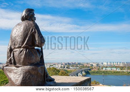 Monument to Russian writer Maxim Gorky set to Fedorovsk waterfront in his hometown of Nizhny Novgorod in 1957. Author Shmagun. Russia, Nizhny Novgorod. September 12, 2016