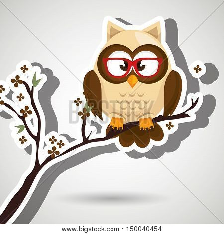 owl beige tree leaves beige vector illustration eps 10