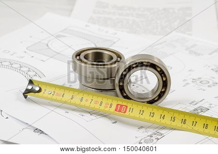Technical Drawings With The Ball Bearings
