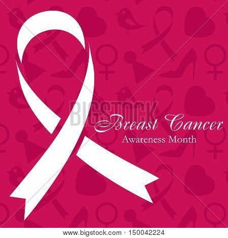 Shape of cancer ribbon on dark pink background with women's accessories. National Breast Cancer Awareness Month. Vector illustration