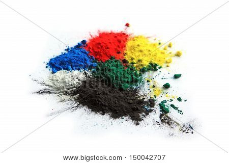 Collection of colorful powder - yellow red black green blue white