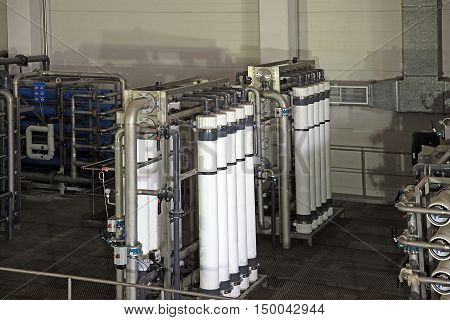 reverse osmosis equipment inside of plant for the manufacture of beverages
